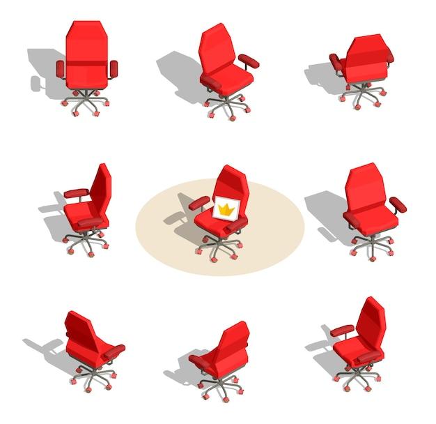 Satz illustration des roten büro-sessels mit einem zeichen in verschiedenen winkeln auf weißem hintergrund mit schatten. Premium Vektoren