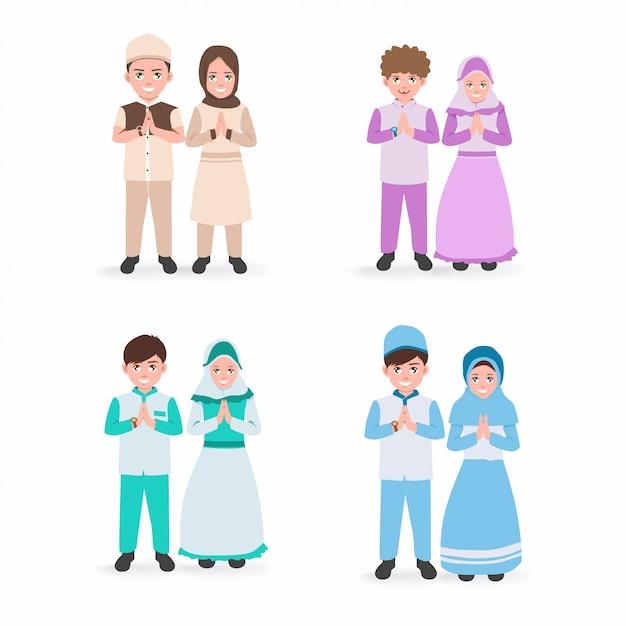 Satz illustration von lächelnkindern mit drassed in islamic isolated white background Premium Vektoren