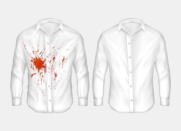 Satz illustrationen des weißen männlichen hemdes mit roter stelle. Kostenlosen Vektoren