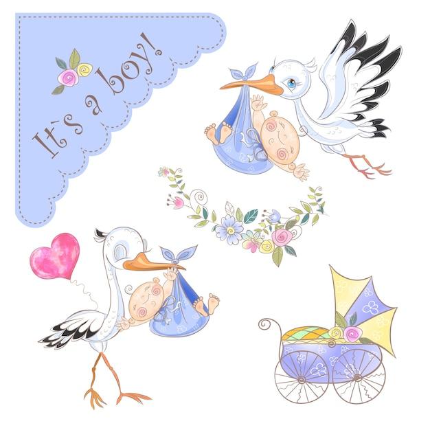 Satz illustrationen für die geburt eines jungen. storch mit baby. babydusche. Premium Vektoren