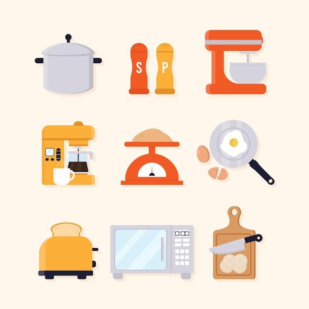 Satz illustrierter küchenelemente Kostenlosen Vektoren