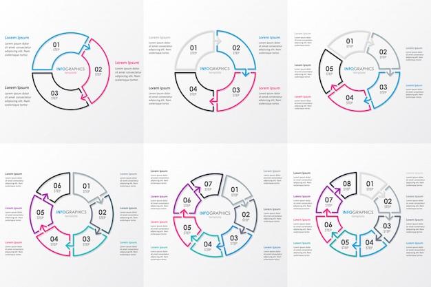 Satz infografik-entwurfsvorlage mit kreisförmigen pfeilen. geschäftskonzept mit 6 optionen, teilen, schritten oder prozessen. Premium Vektoren