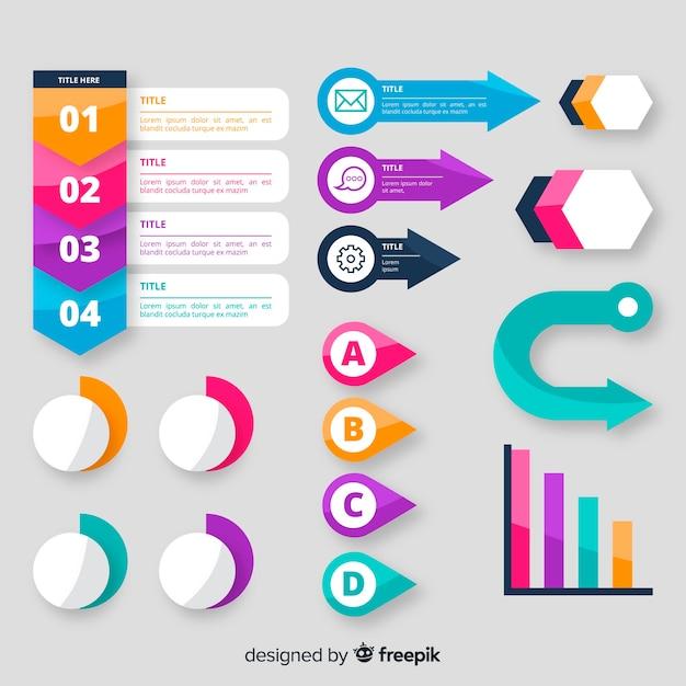 Satz infographic elemente des flachen designs Kostenlosen Vektoren