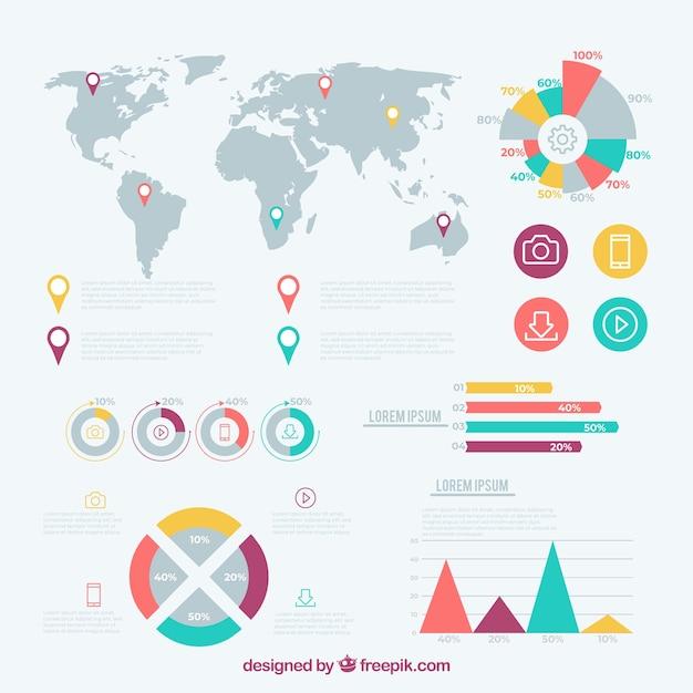 Satz infographic elemente in der flachen art Kostenlosen Vektoren