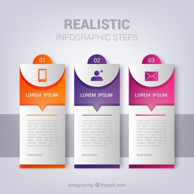 Satz infographic schritte in der realistischen art Kostenlosen Vektoren