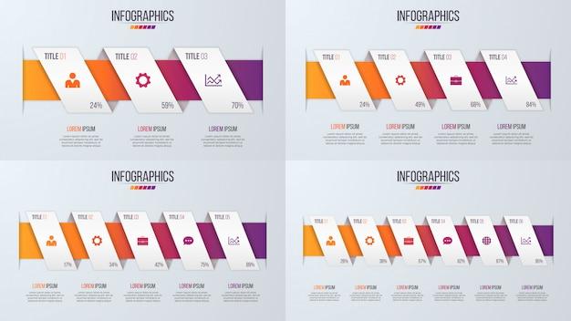 Satz infographic zeitachse der papierart entwirft mit 3-6 schritten. Premium Vektoren