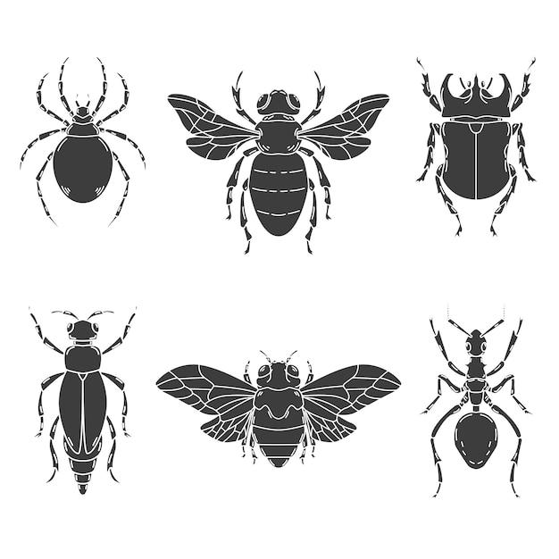 Satz insektenillustrationen auf weißem hintergrund. elemente für logo, etikett, emblem, zeichen. illustration Premium Vektoren