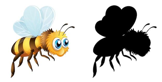 Satz insektenkarikaturcharakter und seine silhouette auf weißem hintergrund Kostenlosen Vektoren