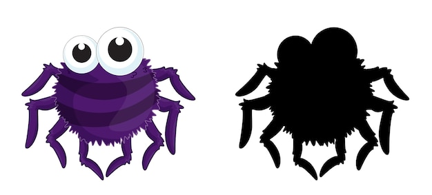 Satz insektenzeichentrickfilmfigur und seine silhouette Kostenlosen Vektoren