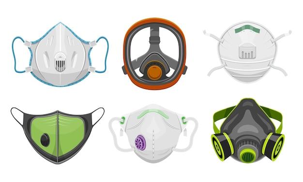 Satz isolierte atemschutzmaske und gesichtsmaske des arztes. Premium Vektoren
