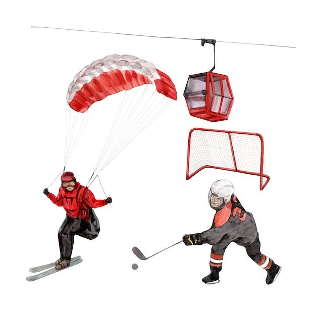 Satz isolierte elemente der wintersportaquarellillustration. Kostenlosen Vektoren