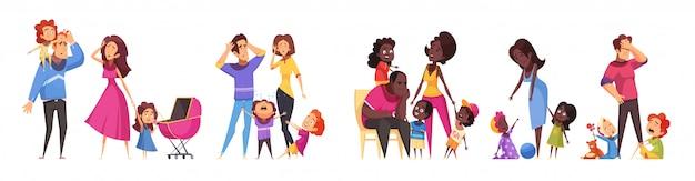 Satz isolierte karikaturkompositionen, die routineszenen der familienbeziehungen zwischen erwachsenen- und kindervektorillustration zeigen Kostenlosen Vektoren