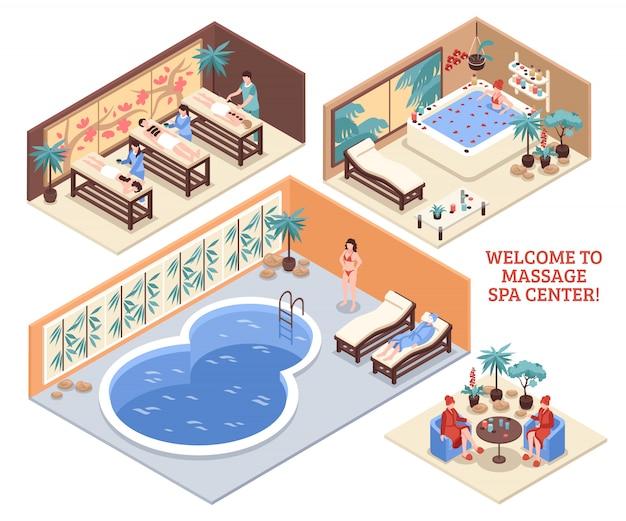 Satz isometrische badekurortzusammensetzungen Kostenlosen Vektoren