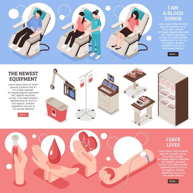 Satz isometrische horizontale fahnenblutspendereinsparung der modernen medizinischen ausrüstung des lebens Kostenlosen Vektoren
