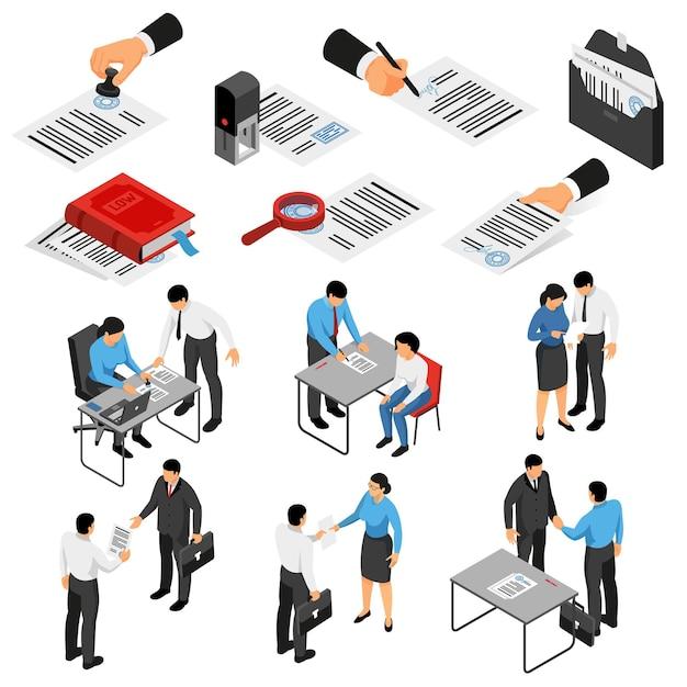 Satz isometrische ikonen mit notar und kunden während der arbeitsunterlagen und des zubehörs lokalisiert Kostenlosen Vektoren