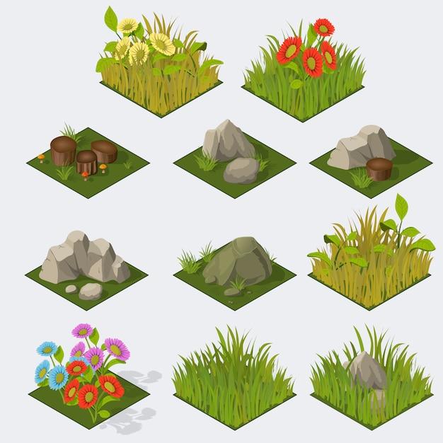 Satz isometrische landschaftsfliesen Premium Vektoren