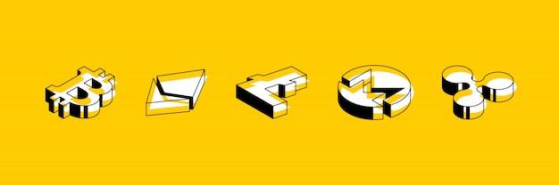 Satz isometrische symbole von kryptowährungen auf gelbem grund Premium Vektoren