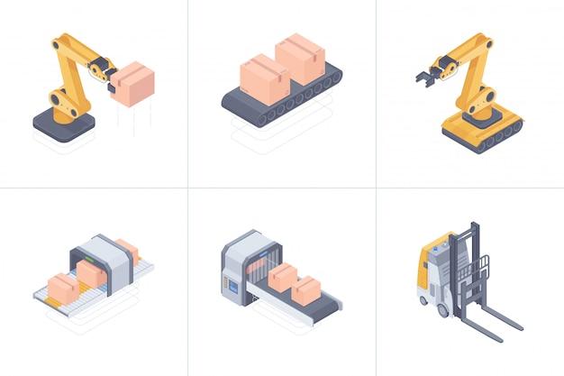 Satz isometrischer illustration der intelligenten lagergeräte Premium Vektoren