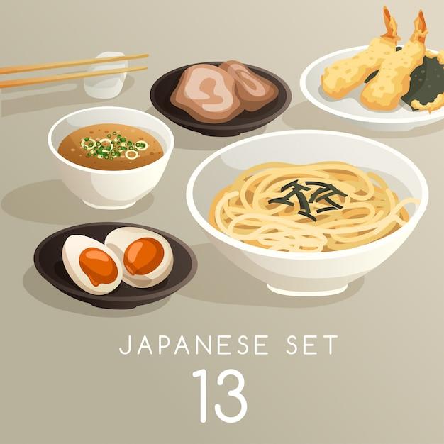 Satz japanische lebensmittelillustration Premium Vektoren