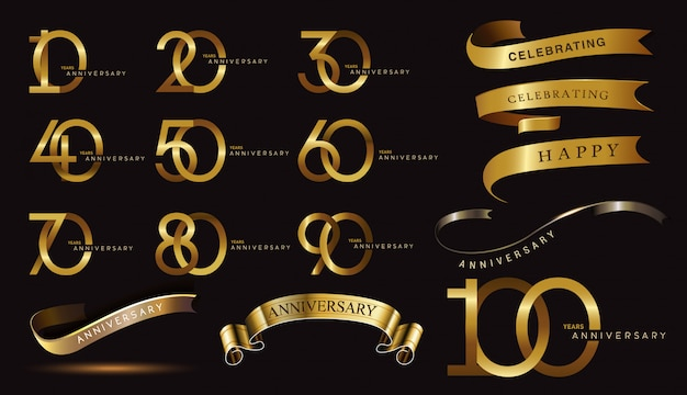 Satz jubiläumslogo und goldband. goldenes jubiläumsfeier-emblemdesign Premium Vektoren