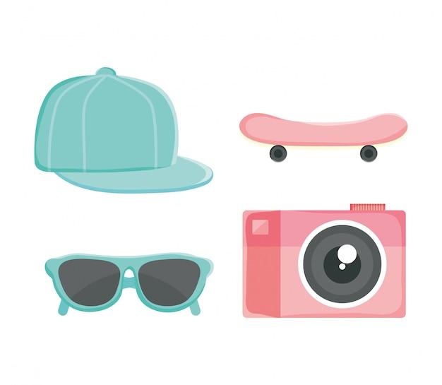 Satz jugendkulturzubehör: hut, rochen, sonnenbrille, kamera Premium Vektoren