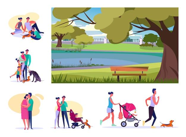 Satz junge familien, die am sommer stillstehen Kostenlosen Vektoren