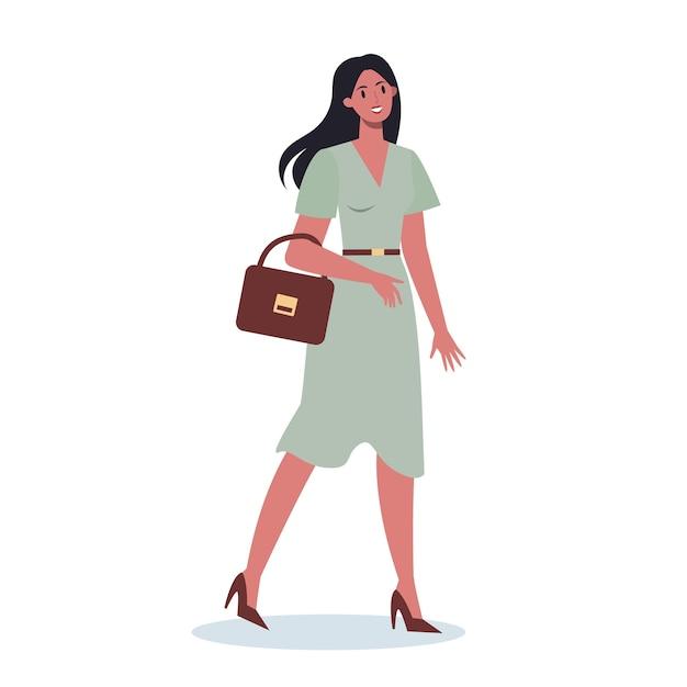 Satz junger geschäftscharakter auf ihrem weg. weibliche figur, die eine aktentasche geht und hält. erfolgreicher mitarbeiter, leistungskonzept. Premium Vektoren