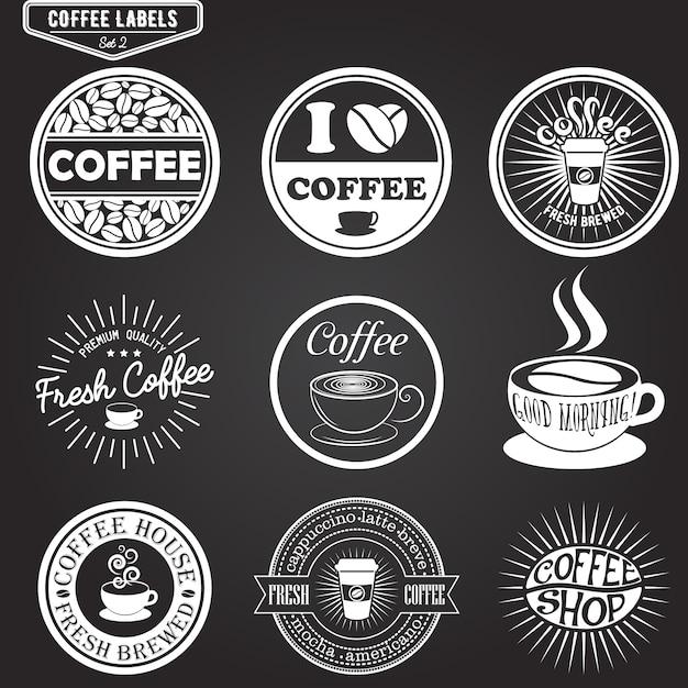 Satz kaffeeaufkleber, gestaltungselemente Premium Vektoren