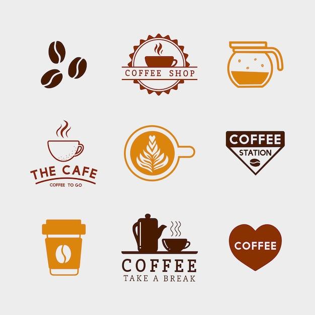 Satz kaffeeelemente und kaffeezubehörvektor Kostenlosen Vektoren
