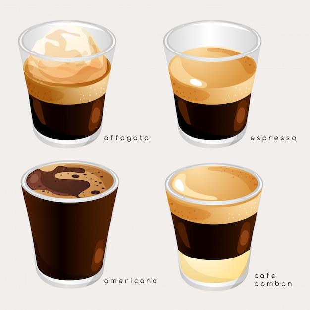 Satz kaffeesorten: illustration Premium Vektoren