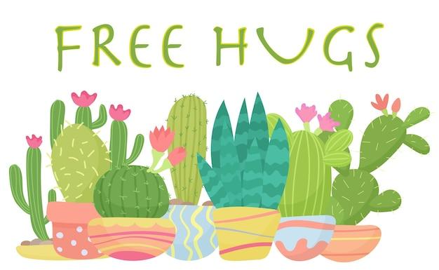 Satz kaktus mit freien umarmungen, die illustration beschriften Premium Vektoren