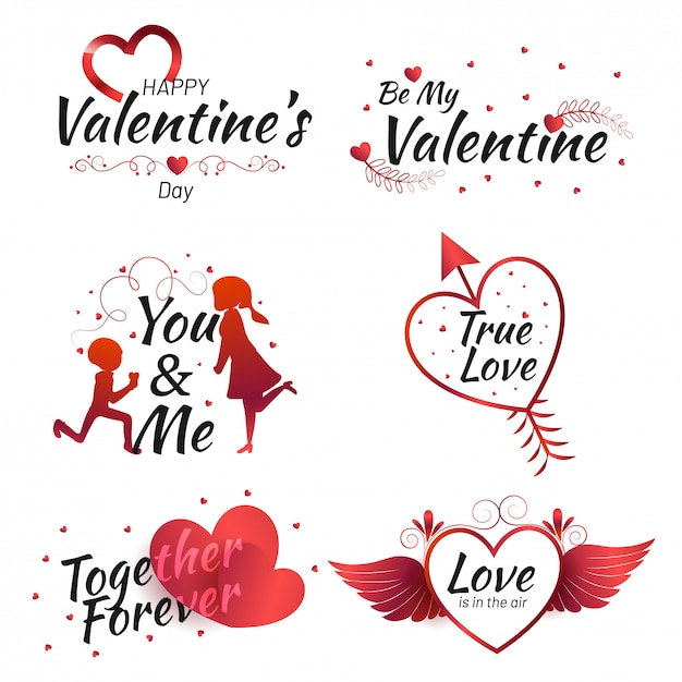 Satz kalligraphische zitate des valentinstags mit illustration von Premium Vektoren