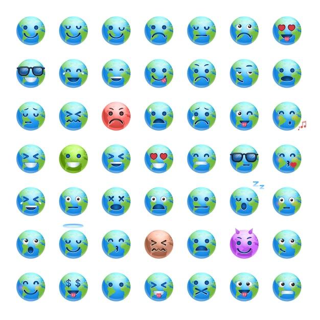 Satz karikatur-erdgesichter mit unterschiedlicher gefühl-lächelnder planeten-ikonen-sammlung Premium Vektoren
