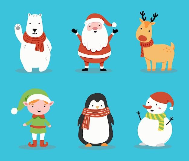 Satz karikatur-weihnachtsmann, hirsch, schneemann, pinguin für weihnachtsfahne, grußkartenillustration. glückliche niedliche charakterweihnachtssammlung. Premium Vektoren