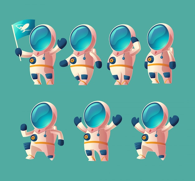 Satz karikaturraumfahrerkind, bewegender kosmonaut im raumanzug Kostenlosen Vektoren
