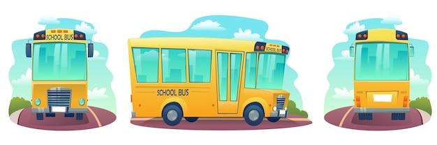 Satz karikaturschulbus. gelber bus für kinder Premium Vektoren