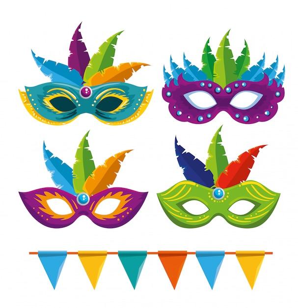 Satz karnevalsmasken mit federdekoration und parteifahne Premium Vektoren