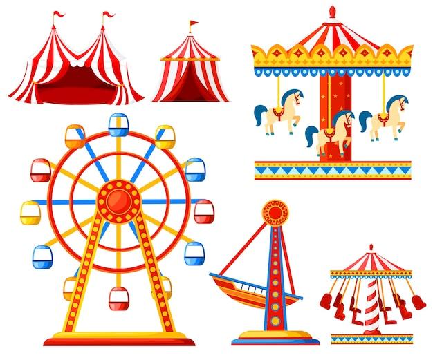 Satz karnevalszirkusikonen. vergnügungspark sammlung. zelt, karussell, riesenrad, piratenschiff. . illustration Premium Vektoren