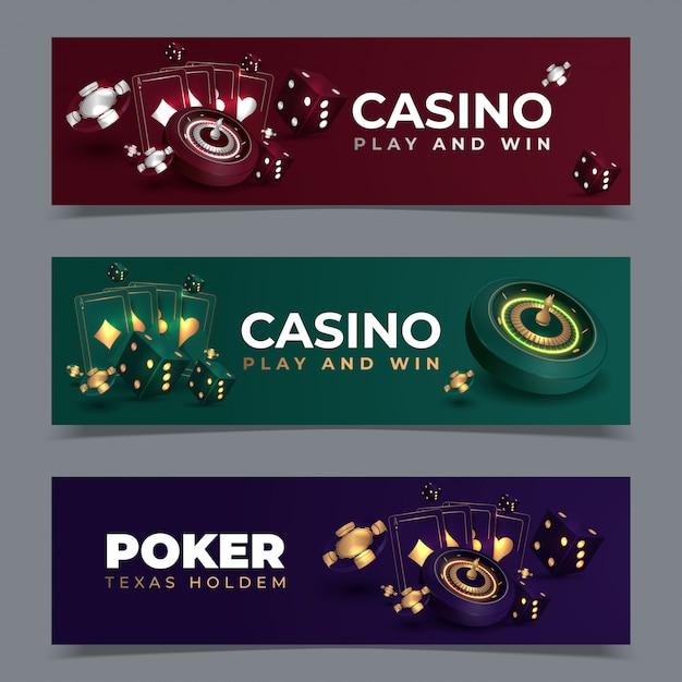 Satz kasinofahnen mit kasinochips und -karten. poker club texas holdem. illustration Premium Vektoren
