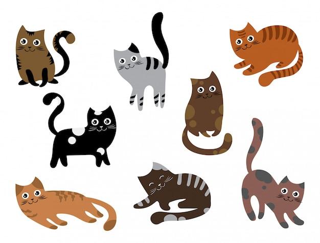 Satz katzen. eine sammlung von cartoon-kätzchen in verschiedenen farben. verspielte haustiere. Premium Vektoren