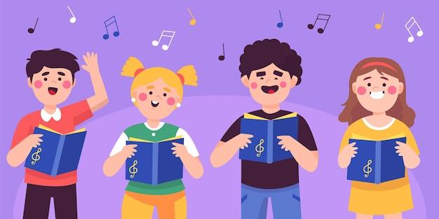 Satz kinder, die in einem chor singen Premium Vektoren