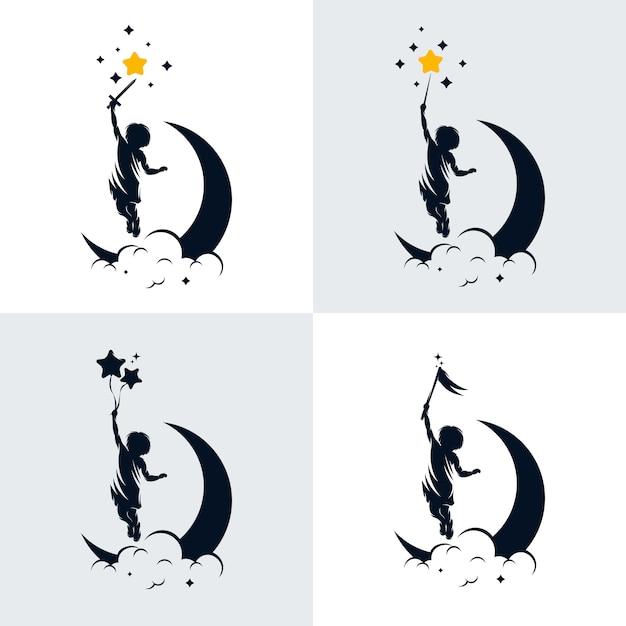 Satz kinder traum logo design vorlage Premium Vektoren