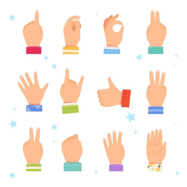 Satz kinderhände, die verschiedene gesten zeigen. Premium Vektoren