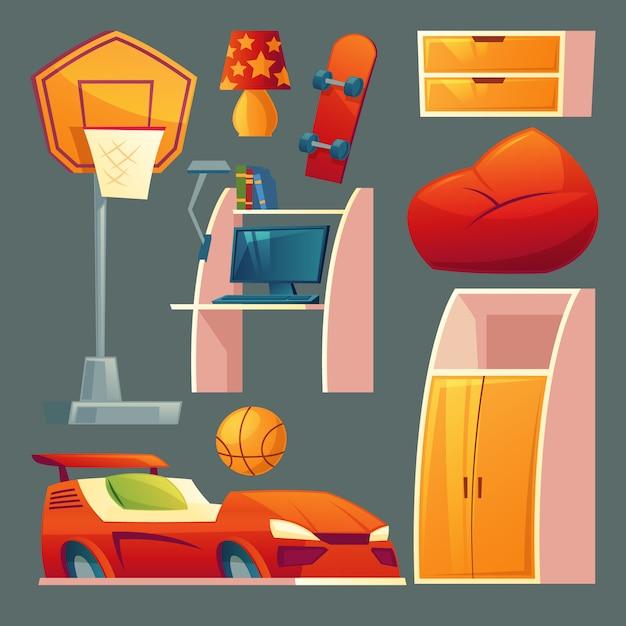 Satz kinderschlafzimmer - möbel, spielwaren für jungenraum. Kostenlosen Vektoren