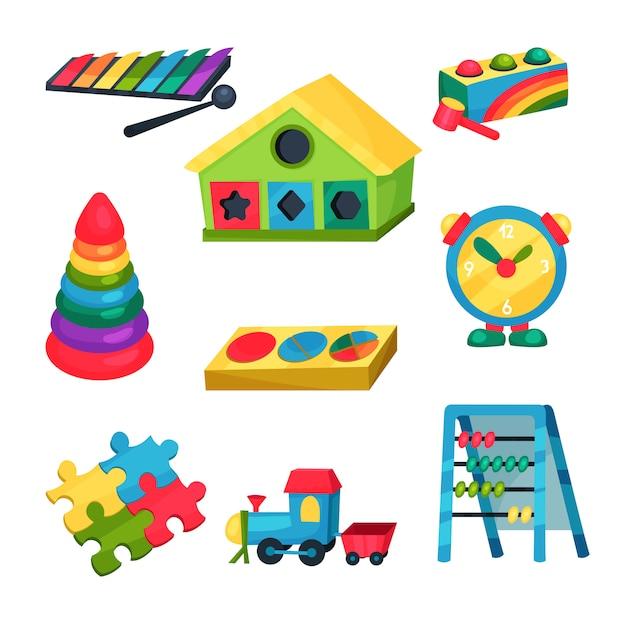 Satz kinderspielzeug. xylophon, pyramide mit ringen, abakus, puzzles, uhr, zug, haus mit löchern für geometrische figuren. flache elemente Premium Vektoren