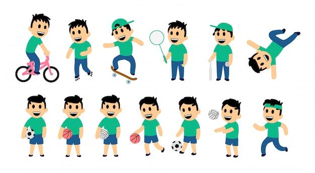 Satz kinderstraße und sportaktivität. lustiger junge in verschiedenen aktionsstellungen. bunte illustration. auf weißem hintergrund. Premium Vektoren