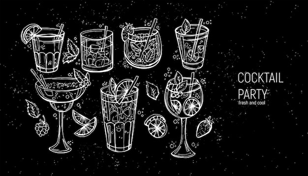 Satz klassische alkoholische cocktails. Premium Vektoren