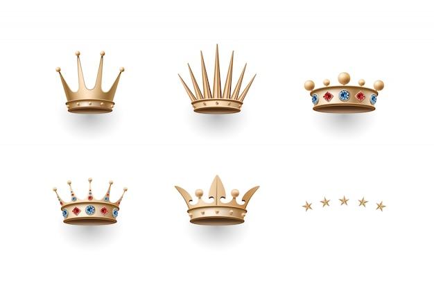 Satz königliche goldkrone und fünf-sterne-ikonen Premium Vektoren
