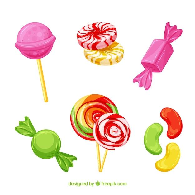 Satz köstliche süßigkeiten in der flachen art Premium Vektoren