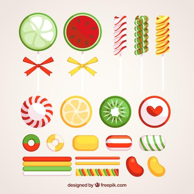 Satz köstliche süßigkeiten in der flachen art Kostenlosen Vektoren